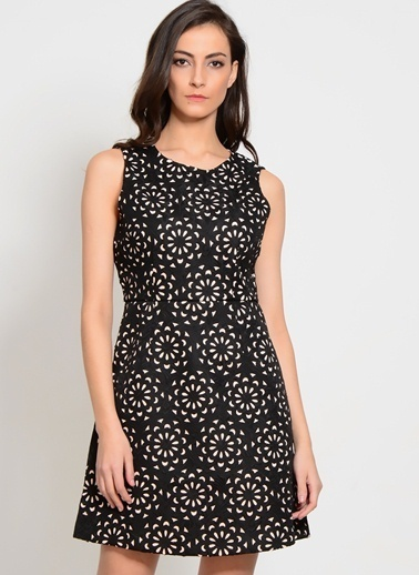 Darling Kolsuz Desenli Elbise Siyah